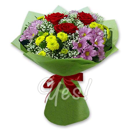 Как сделать букет из розы и хризантемы 991