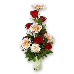 Букет з троянд, гербер, гвоздик