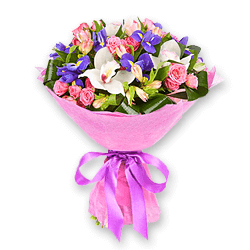 Bouquet of roses, orchids, irises and alstroemerias