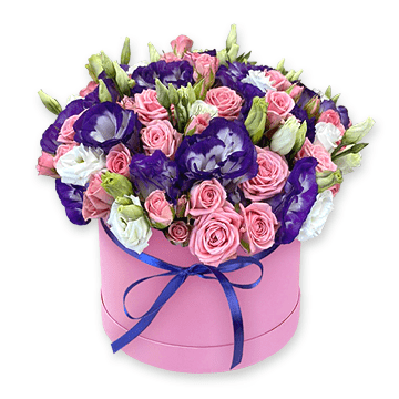 Lisianthus and roses in box