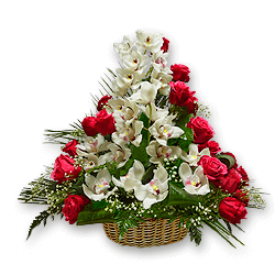 Basket with orchids and roses