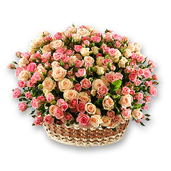 Basket with roses spray