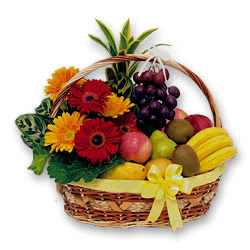 Basket with fruits  and flowers