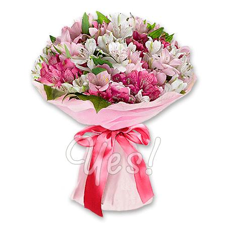 Букет из белых и розовых альстромерий в Киеве