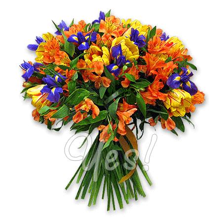 Букет из альстромерий, ирисов, тюльпанов в Таллинне