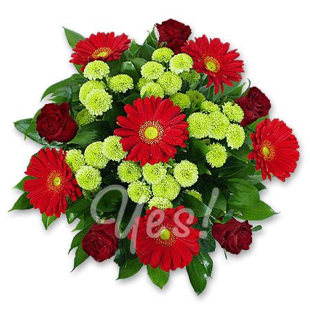 Букет из роз, гербер, хризантем в Подгорице