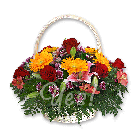 Basket with roses, alstroemerias decorated with verdure