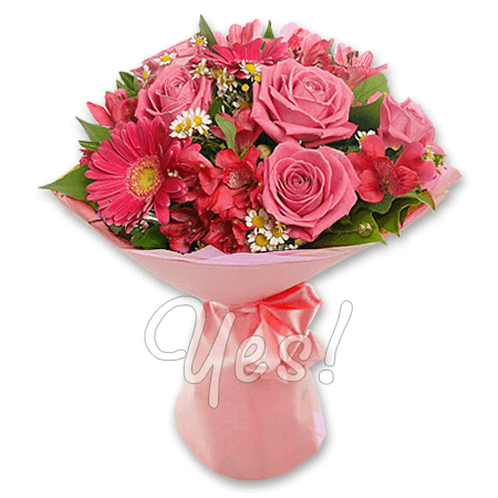 Букет из роз, альстромерий, гербер