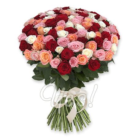 Букет из разноцветных роз (60 см.)