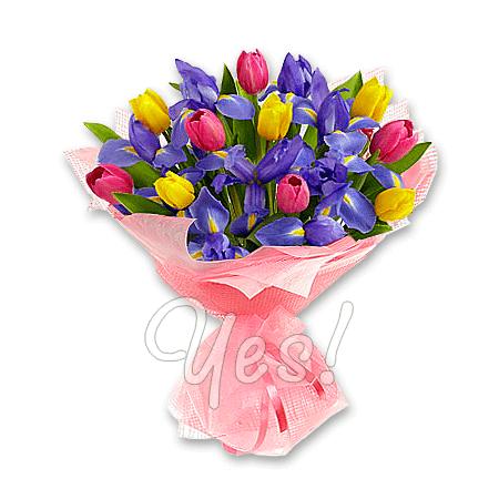 Букет из тюльпанов и ирисов в Бишкеке