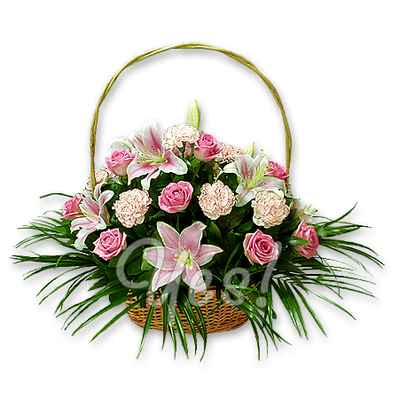 Basket with lilies, pinks, roses decorated with verdure