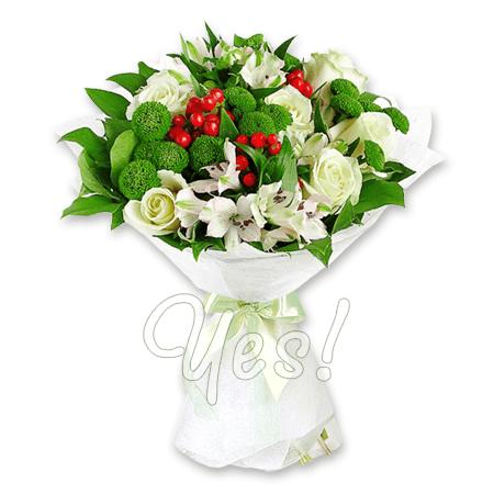 Букет из роз, альстромерий, хризантем в Варшаве