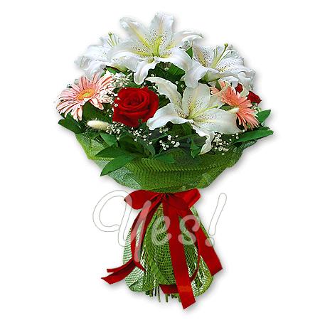 Букет из лилий, роз, гербер в Таллинне