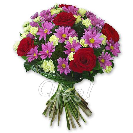 Букет из роз, хризантем, гвоздик