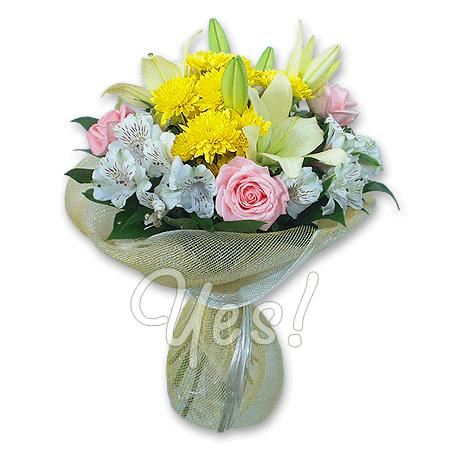 Букет из роз, лилий, хризантем