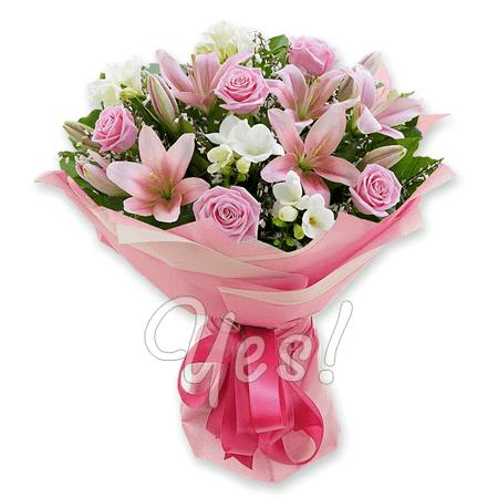 Букет из роз,  лилий и фрезий в Анкаре