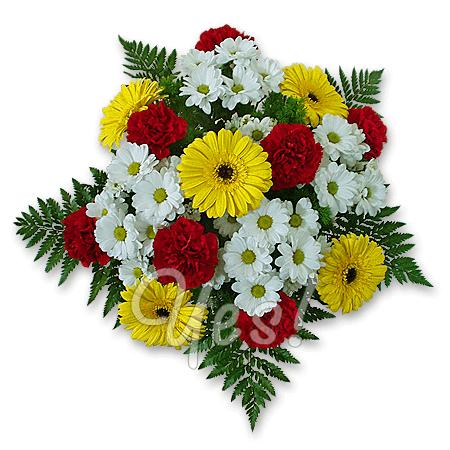 Букет из гербер, хризантем, гвоздик
