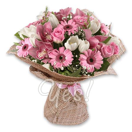 Букет из роз, орхидей, тюльпанов и гербер