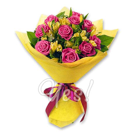 Букет з троянд і альстромерій