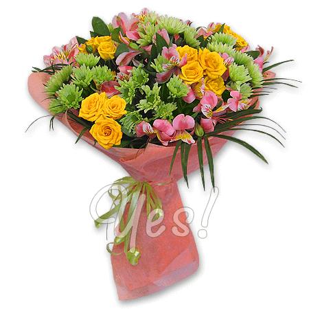 Букет из роз, хризантем, альстромерий