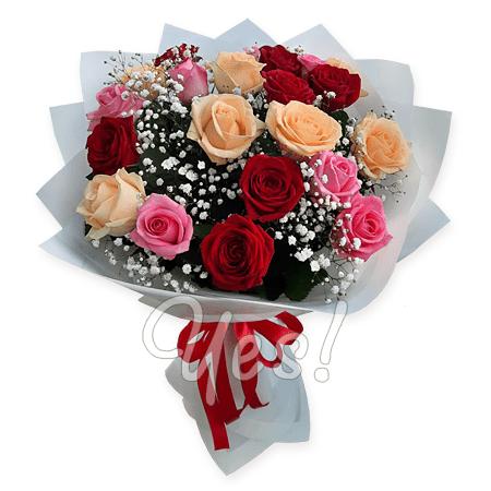 Букет из разноцветных роз (80 см.)