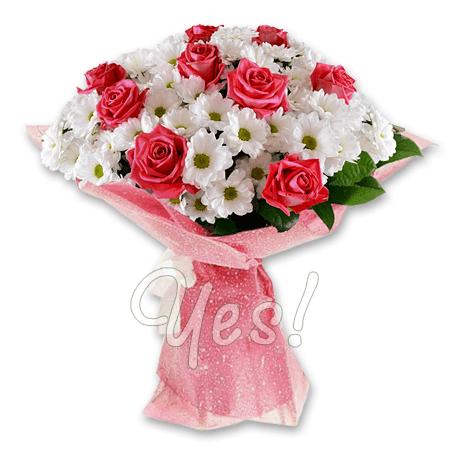 Букет из роз и хризантем в Минске