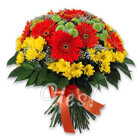 Букет з гербер та хризантем у Подгориці