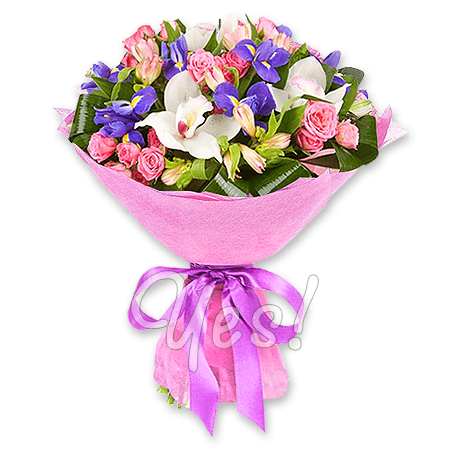 Букет роз, орхидей, ирисов в Загребе