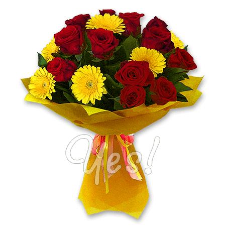 Букет роз и гербер