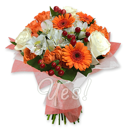 Bouquet of roses, alstroemerias, gerberas to Kiev
