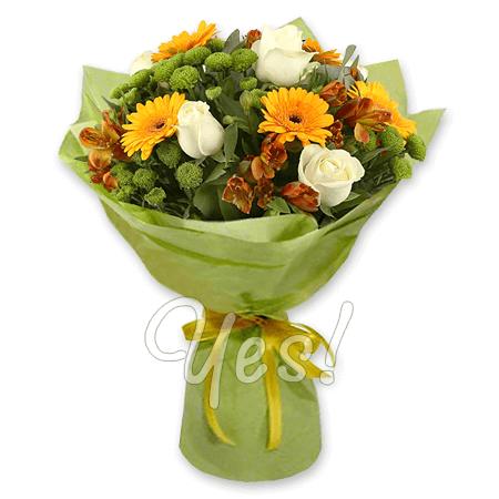 Bouquet of roses, alstroemerias and gerberas