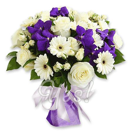 Букет из роз, орхидей и гербер