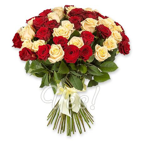 Букет из красных и кремовых роз (80 см.)