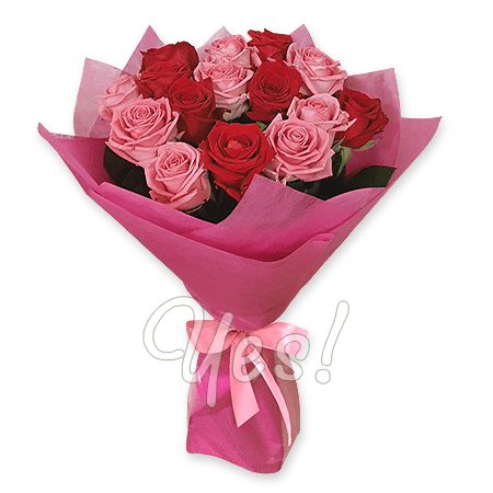 Bouquet red and pink roses (80 cm.)