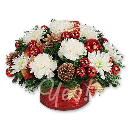 Новогодняя композиция из хризантем и гвоздик