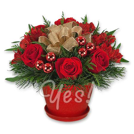 Новогодняя композиция из роз и альстромерий в Киеве